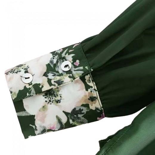 'Kiki' Retro Green Floral Blouse