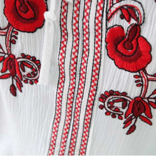 Embroidered White Bohemian Shirt