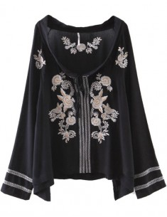 Embroidered Black Bohemian Shirt