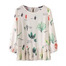 Plants Print Pleated Blouse