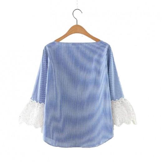 Boat-Neck Lace Sleeve Blouse