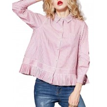 Loose Fit Button Up Pink Blouse