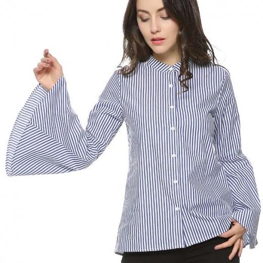 Bell Sleeve Striped Shirt