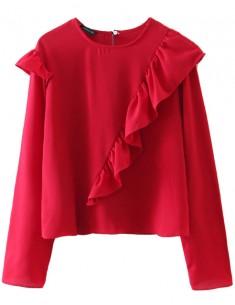 Julia Ruffle Red Crop Top
