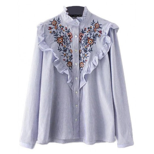 Ruffled Neck Embroidered Blouse