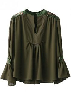 Ruffled Sleeve Oversized Blouse