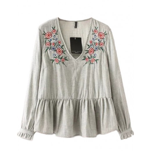 Ruffled Hem Embroidered Blouse