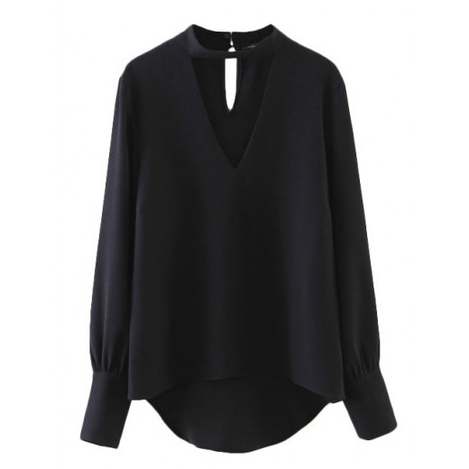 Cut Out Neck Black Blouse