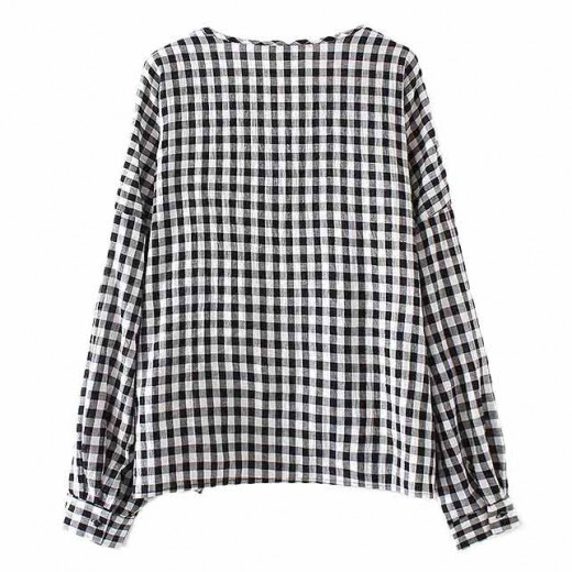 Long Sleeved Checkered Blouse