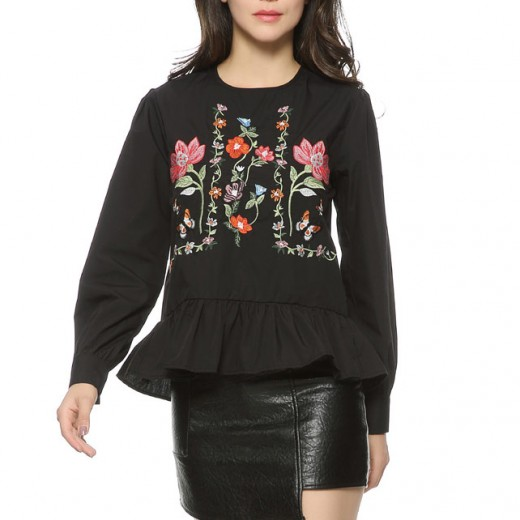 Butterfly & Floral Embroidered Blouse
