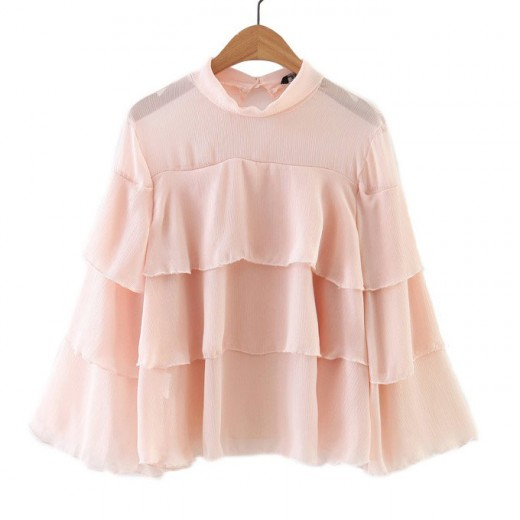 Transparent Ruffled Flare Blouse