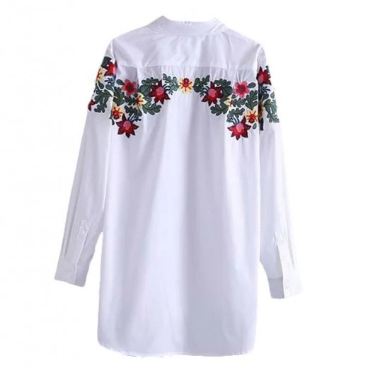 Floral Embroidered White Shirt