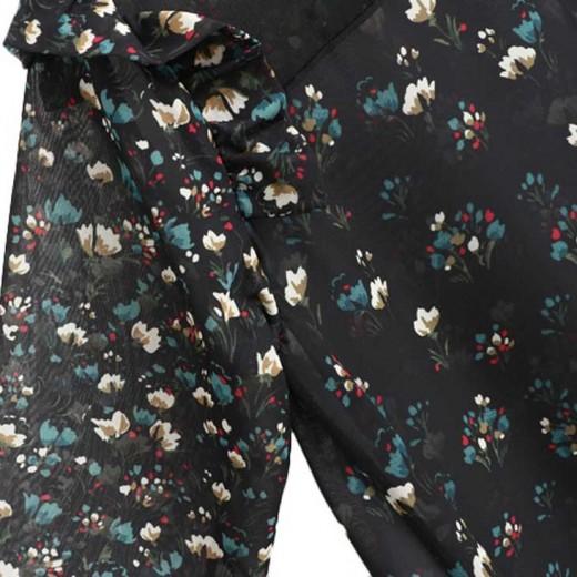 Floral Print Black Sheer Blouse