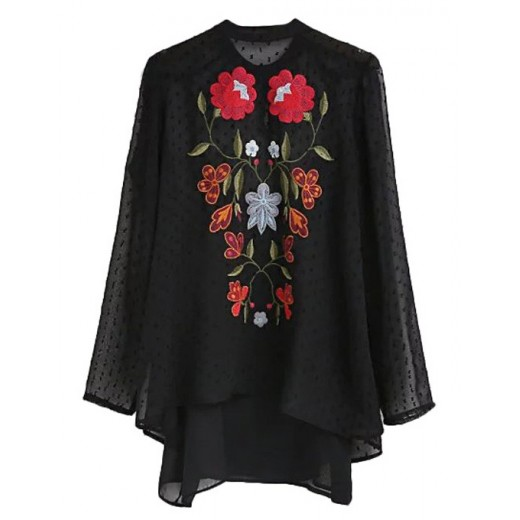 Floral Embroidered Transparent Blouse