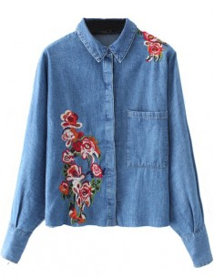 Oversized Floral Embroidered Shirt