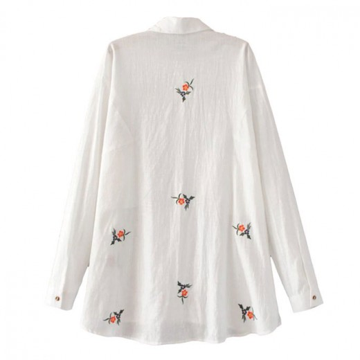 Oversized Floral Embroidered Blouse