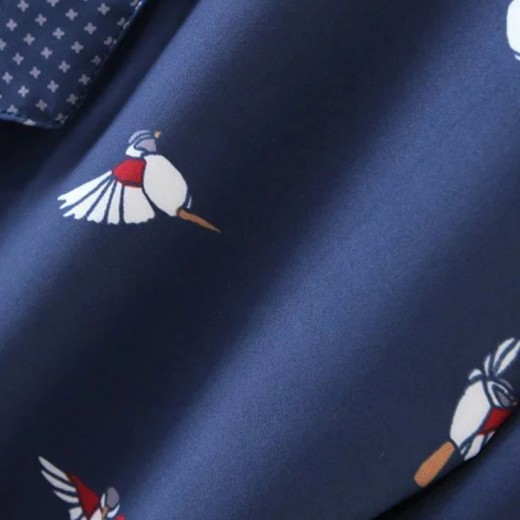 Button Up Birds Navy Blouse