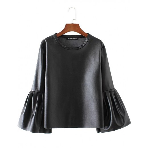Faux Leather Bell Sleeve Blouse