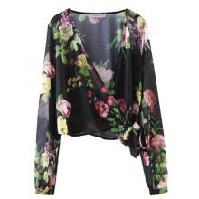 Garden-Print Black Sheer Blouse