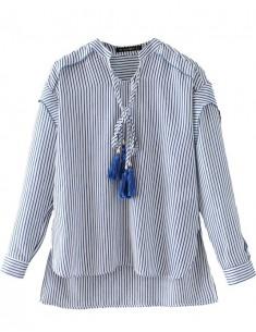 High Low Striped Tassel Shirt