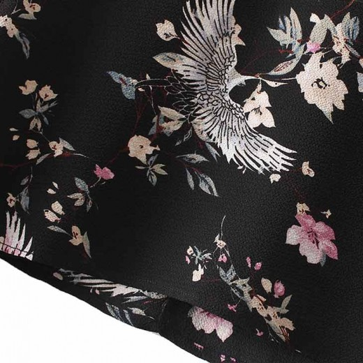 Bird & Floral Patterned Crop Blouse