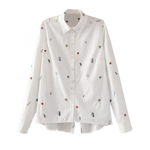Sweet White Embroidered Shirt