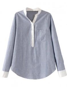 One Pocket Elegant Striped Shirt
