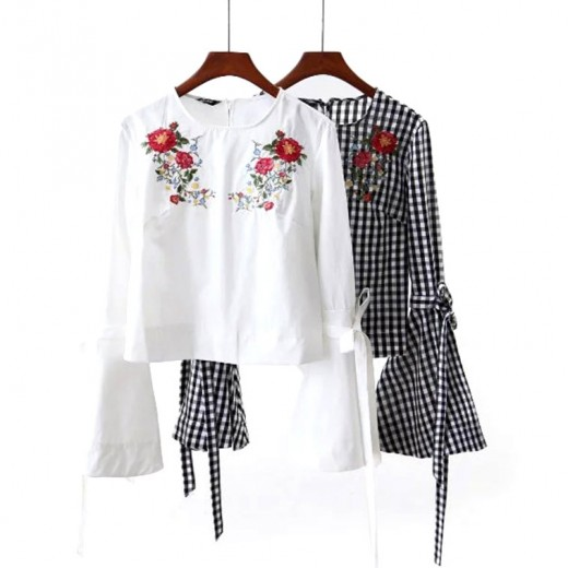 Bow Tie Flared Sleeve Floral Blouse
