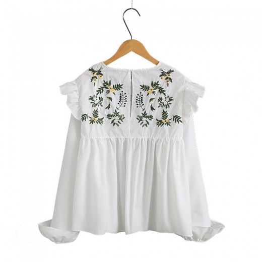Floral Embroidered White Peplum Blouse
