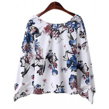 Bright Floral Print Buttons Blouse
