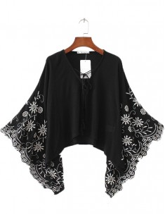 Embroidered Wide Sleeve Boho Blouse