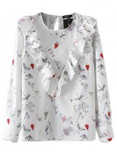 Hearts & Sea Theme Ruffle Shirt