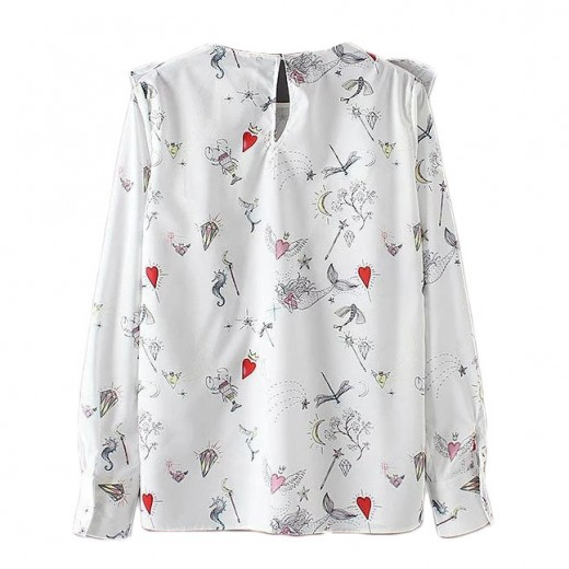 Hearts & Sea Theme Ruffle Shirt