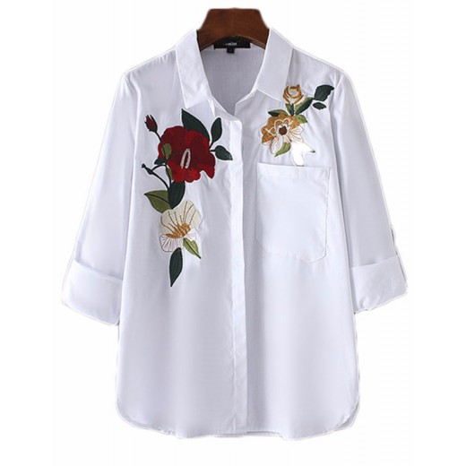 'Ynes' White Floral Embroidered Shirt