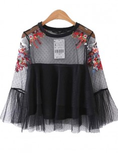 Floral Embroidery Black Mesh Blouse