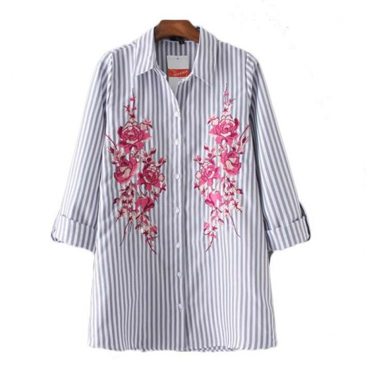 Pink Flowers Striped Button Up Shirt