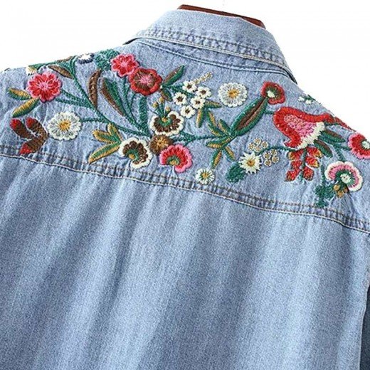 'Kia' Floral Embroidered Denim Shirt