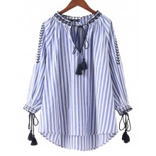 'Claudia' Striped Tassel Boho Shirt