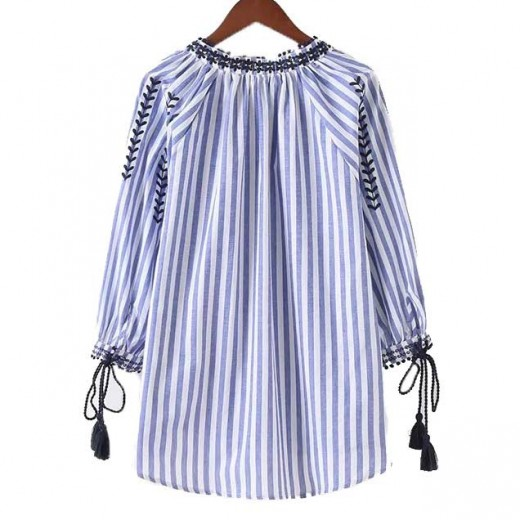 'Claudia' Striped Tassel Boho Shirt