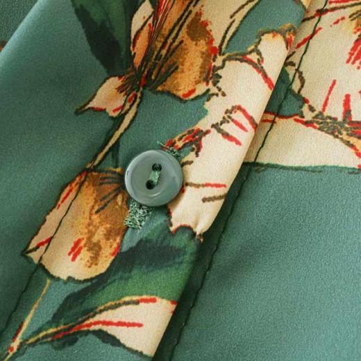 'Shawnette' Green Floral Shirt