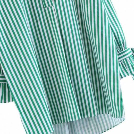 'Oona' Oversized Green Striped Shirt