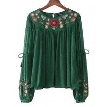 'Janice' Floral Embroidered Boho Blouse