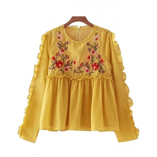 'Cia' Vintage Embroidered Flare Blouse
