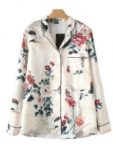 'Lorrie' Retro Crane & Floral Blouse