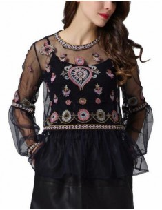 'Adelynn' Black See-Through Blouse
