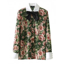 'Sue' Bow Tie Retro Floral Blouse