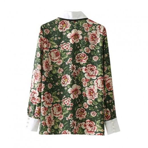 'Sue' Bow Tie Retro Floral Blouse