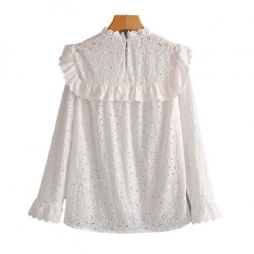 'Nita' Ruffled White Perforated Blouse