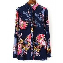 Peony Print Buttons Navy Blouse