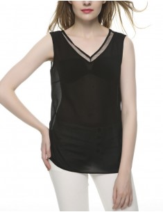 V-neck Sleeveless Black Top